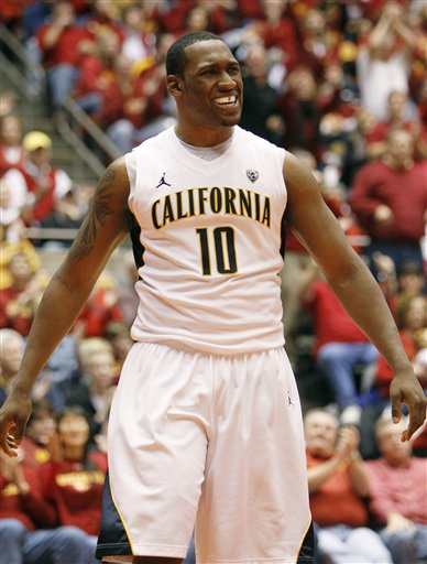 California center Markhuri Sanders-Frison reacts during the second half of an NCAA college basketball game against Iowa State, Saturday, Dec. 4, 2010, in Ames, Iowa. California won 76-73. (AP Photo/Charlie Neibergall)